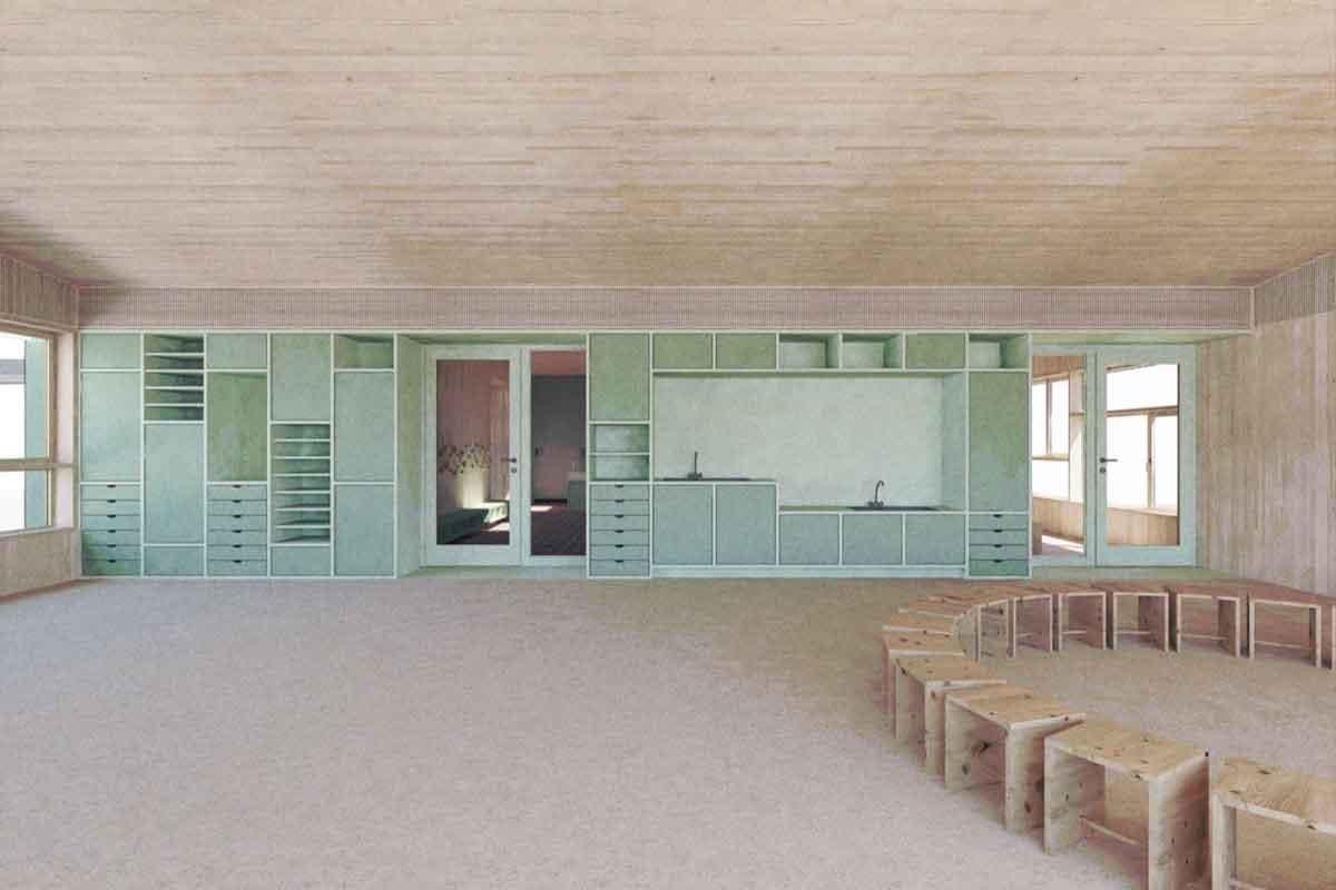 Innenansicht Neubau Kindergarten Veltheim
